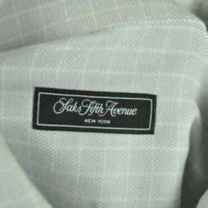 Saks Fifth Avenue Gray & White Dress Shirt 15 1/2